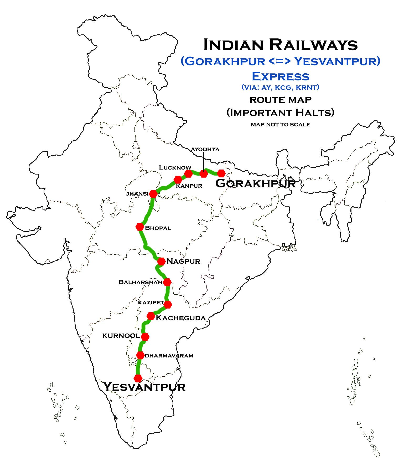 Ayodhya In India Map.File Gorakhpur Yesvantpur Via Ayodhya Express Route Map Jpg