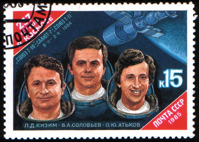 Cosmonaut Vladimir Soloviyov (middle) on a USSR postage stamp (issued 25 June 1985)Source: Wikipedia 1985_CPA_5645_%281%29.jpg
