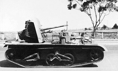 A 2pdr anti-tank gun mounted on a universal carrier chassis