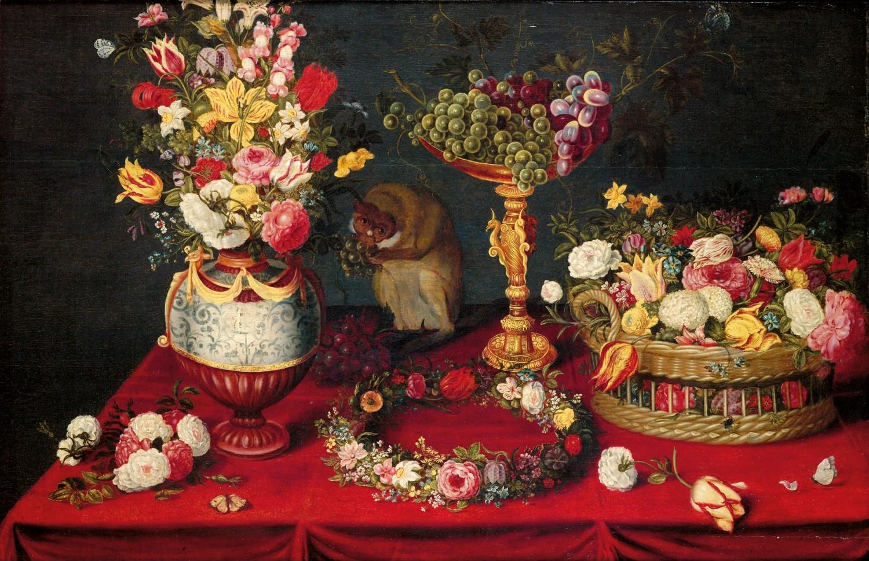 13. Амброзиус Брейгель Натюрморт с цветами. фруктами и обезьяной