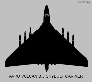 Silhouette of the original study for the Vulcan B.3 patrol missile carrier