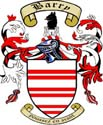 Arms of Barry: Argent, three bars gemelles gules; crest: Out of a castle argent a wolf's head sable