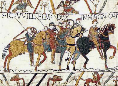 Bayeux Tapestry depicting events leading to the Norman conquest of England, which defined much of the subsequent history of the British Isles Bayeux Tapestry WillelmDux.jpg