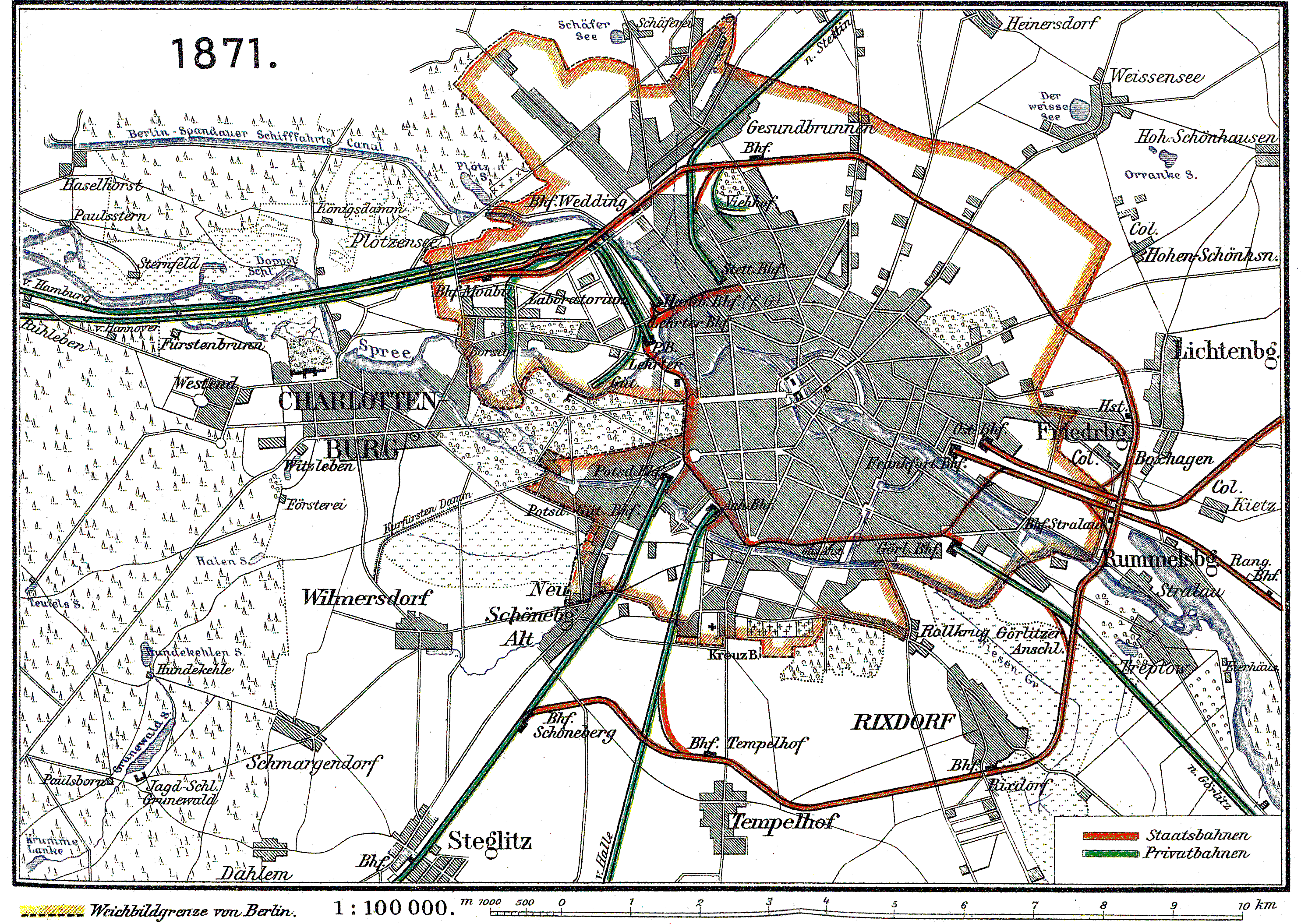 Berlin and its railways in 1871