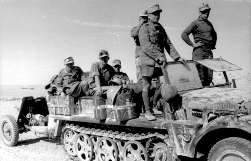 An Sd.Kfz. 10 carrying a 37mm A/T gun