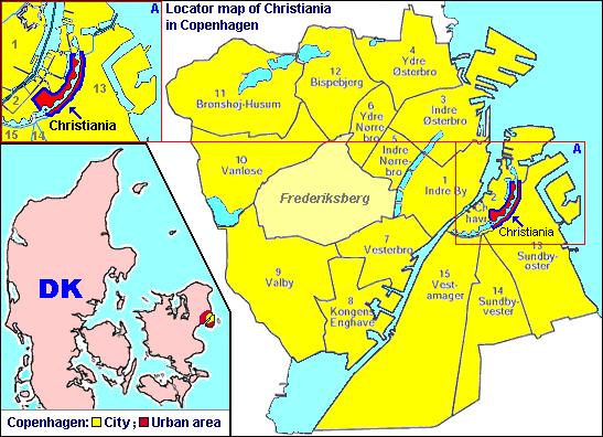 > Carte de Copenhague avec le quartier de Christiania en rouge.Image de Локомотив