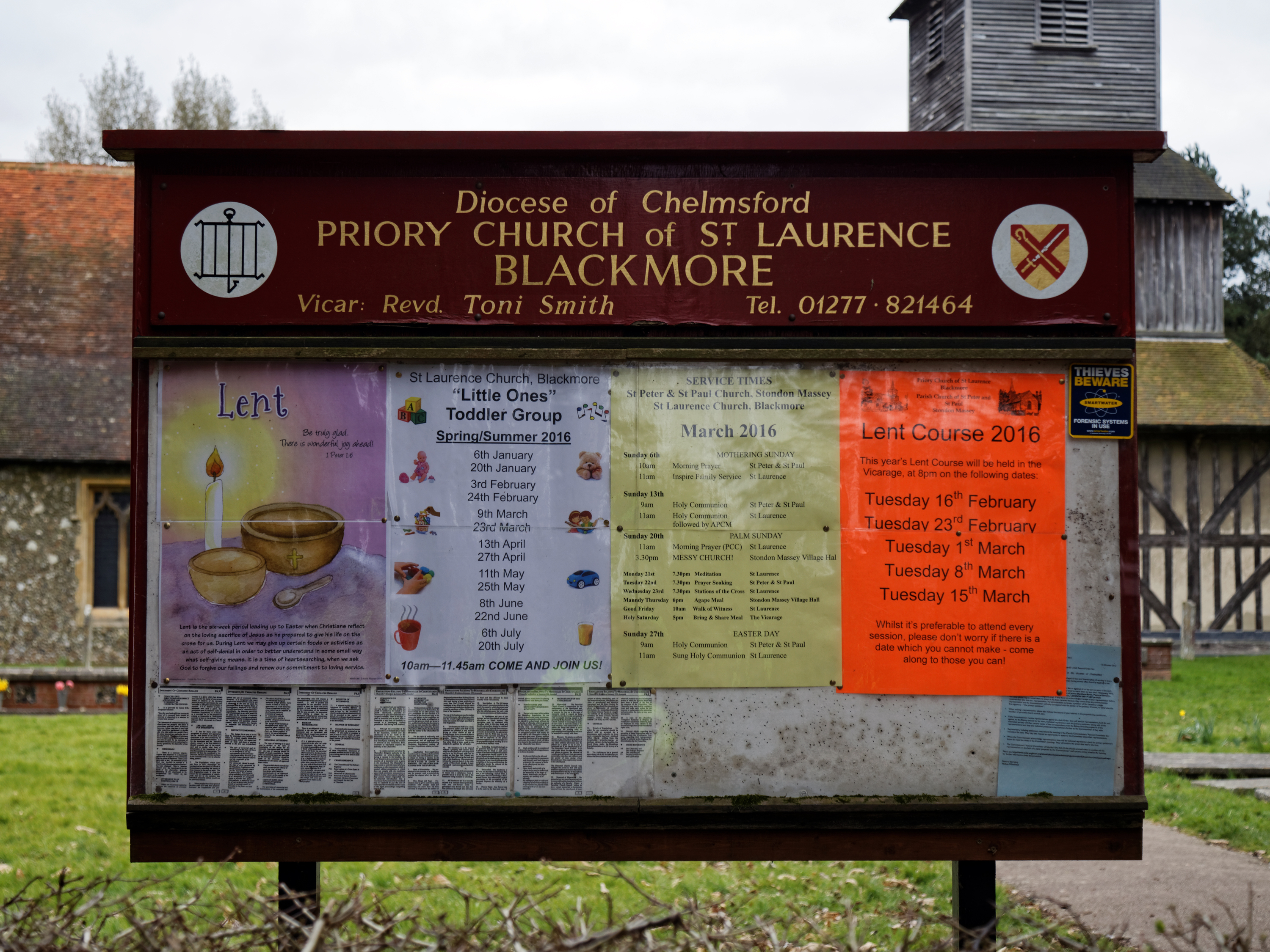 File:Church Of St Laurence Blackmore Essex England   Church Exterior Notice  Board