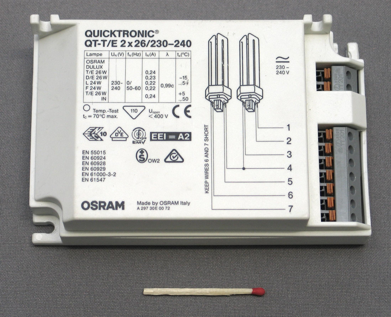 Схема подключения двух люминесцентных ламп одним стартером