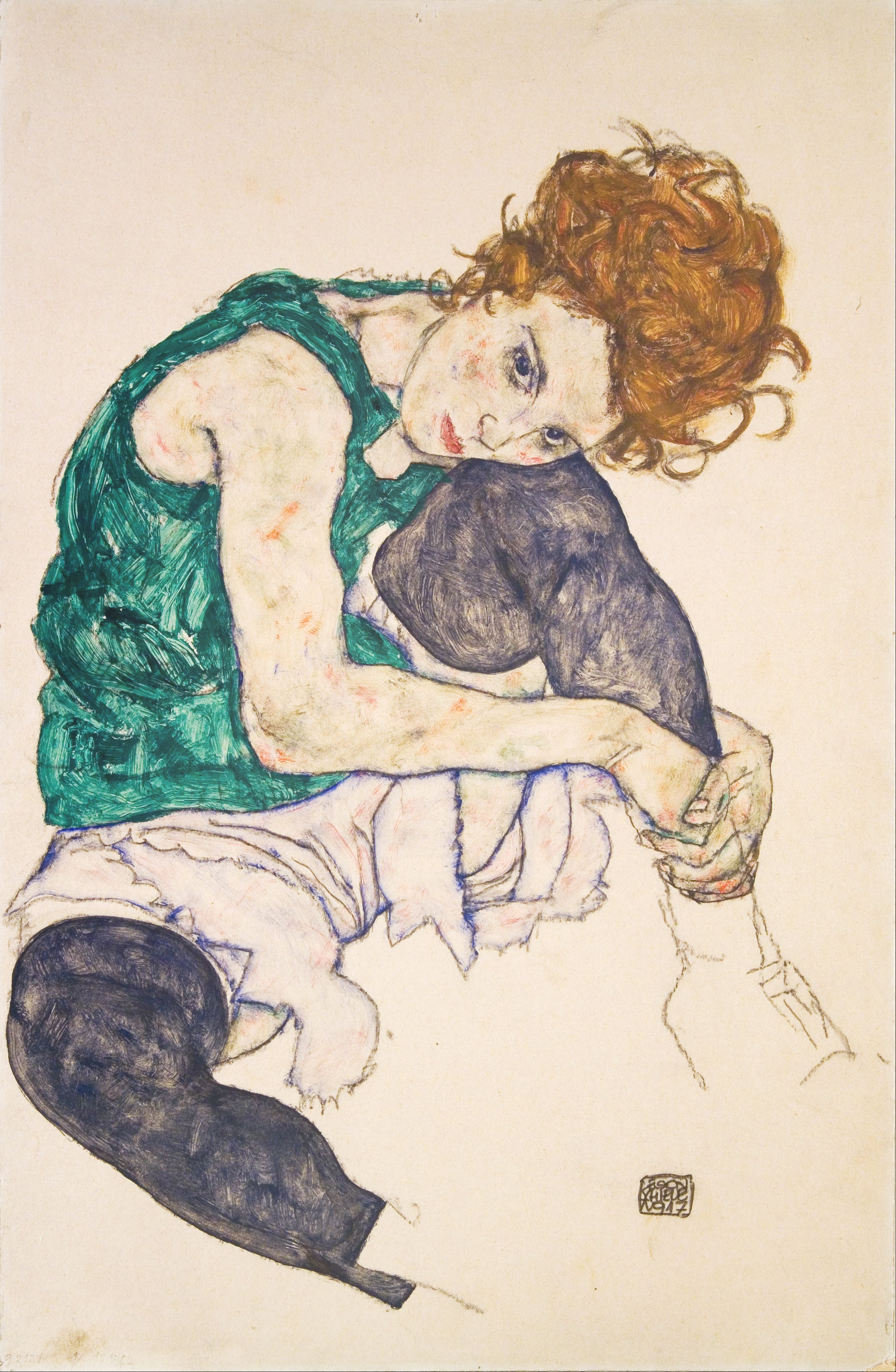 Egon Schiele [peintre] Egon_Schiele_-_Seated_Woman_with_Legs_Drawn_Up_(Adele_Herms)_-_Google_Art_Project