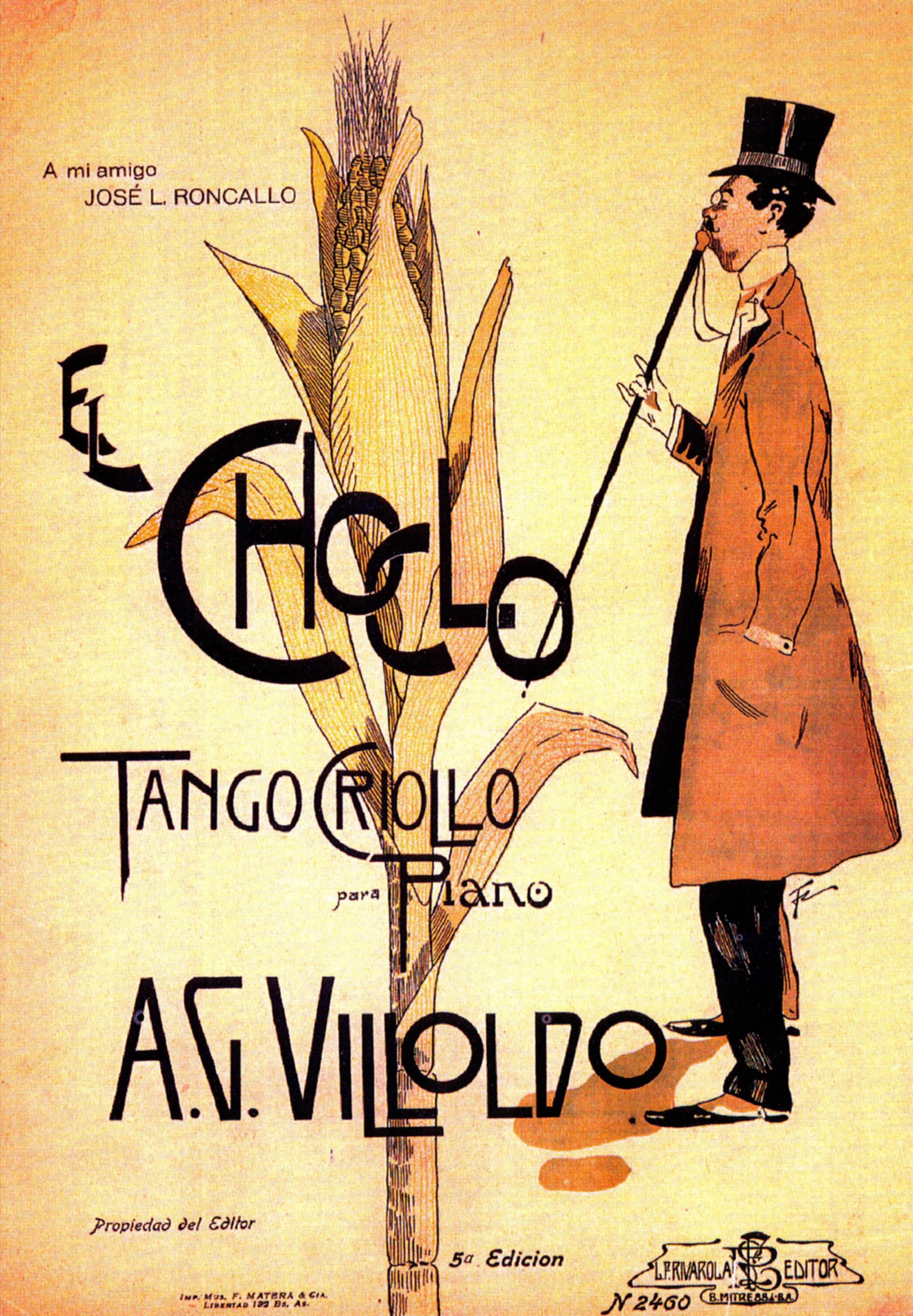 Portada de la partitura de El Choclo, uno de los tangos más populares.