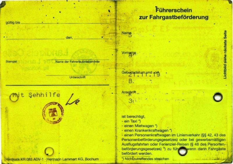 fhrerschein zur fahrgastbefrderung wikipedia - Taxi Und Mietwagen Prufung Muster