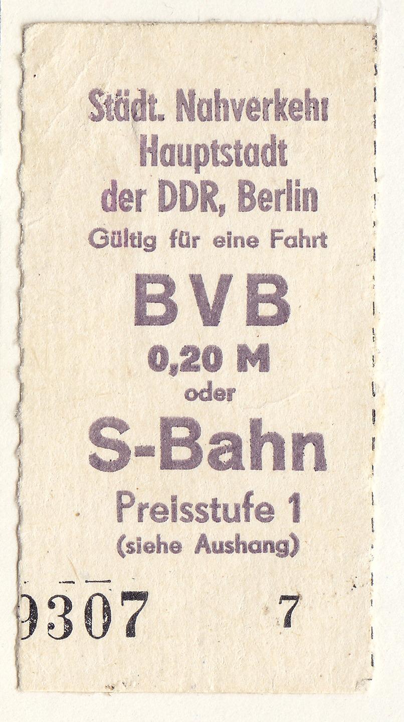 Fahrkarte S-Bahn zu DDR-Zeiten - Quelle: WikiCommons