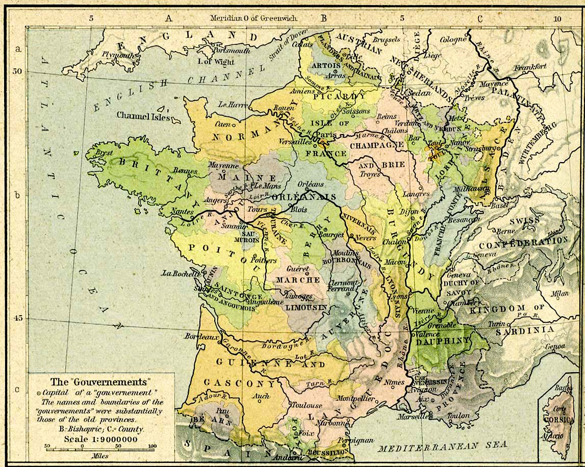 Carte des provinces de France