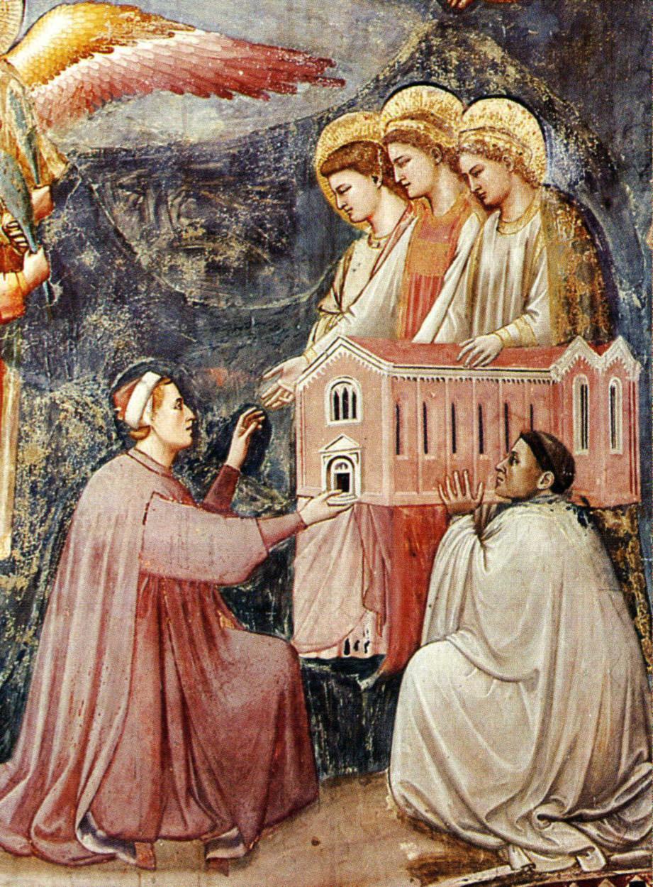 Giotto, scrovegni, enrico scrovegni dona agli angeli una riproduzione della cappella degli scrovegni (1302).jpg