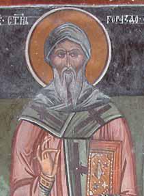 Den eldste fremstillingen av Gorazd, freske i klosteret Slivnica i Makedonia (1612)