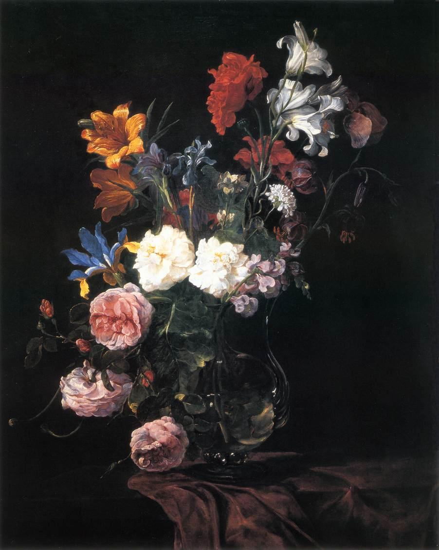 Floral Painting Black Background