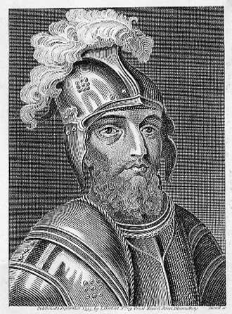 Stewart's son, John Stewart, 2nd Earl of Buchan, in a late-18th-century engraving. Buchan was killed at the Battle of Verneuil in 1424. John, Earl of Buchan.jpg