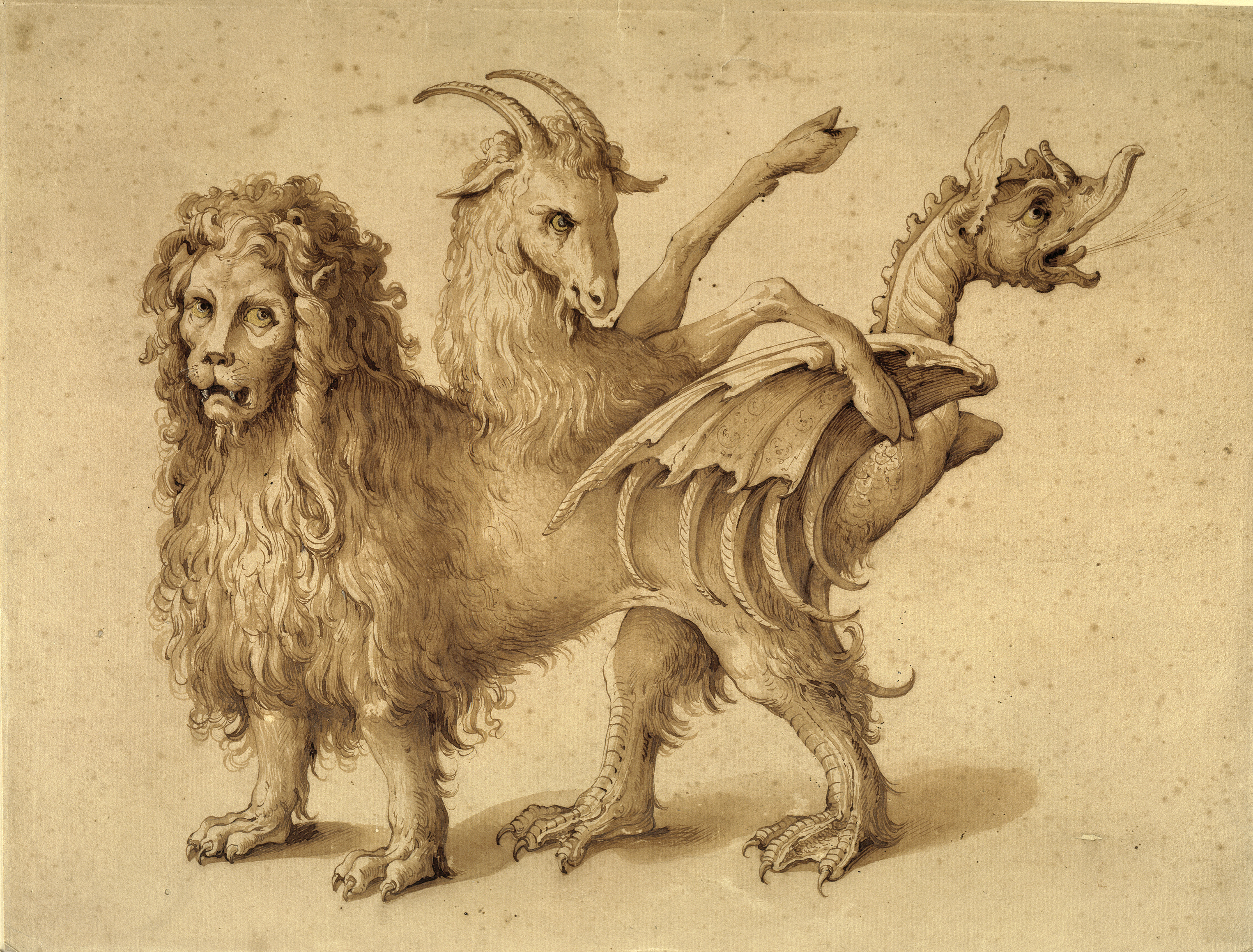 An image of the Chimera. This mythical beast had the body of a lion, and a tail with a serpent's head. It also had a goat's head attached to its back.