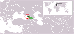 Location of Abkhazia (dark green) and the rest of Georgia (green) in the Caucasus.