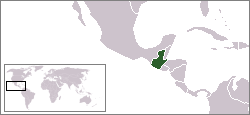 World locator map with Guatemla highlighted in green.