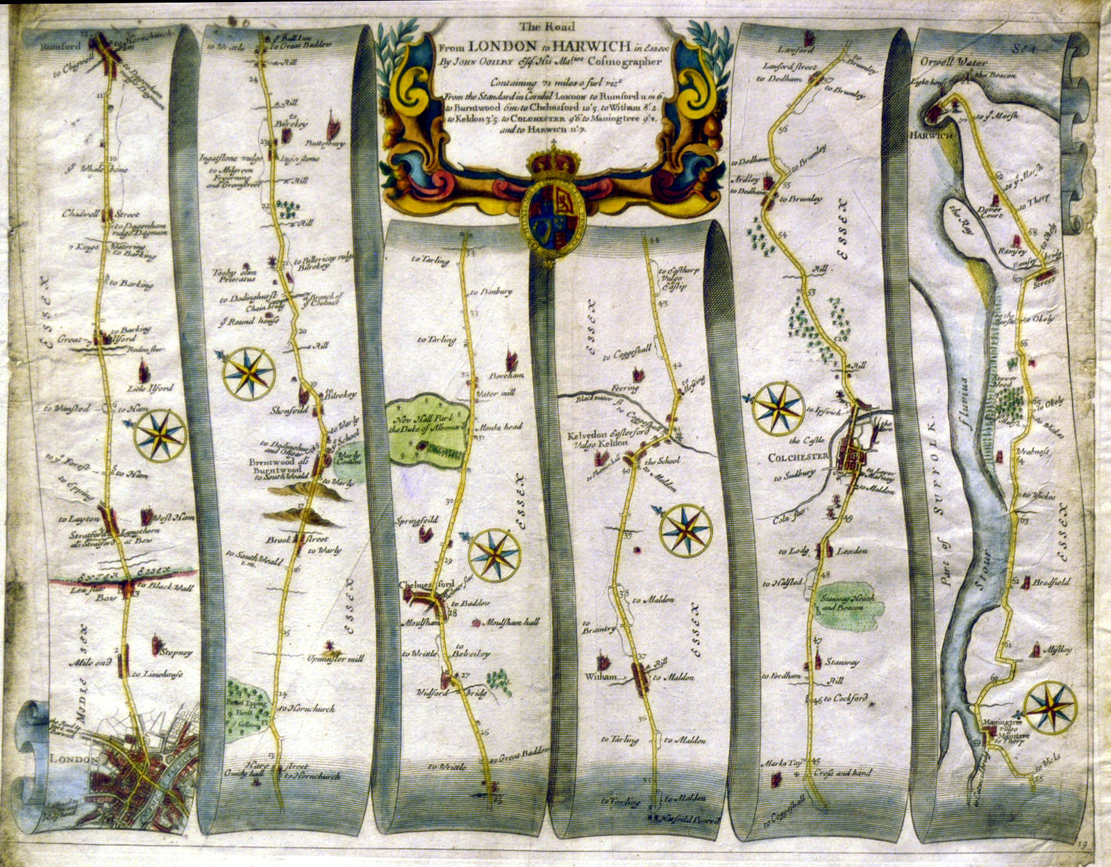 Map Of London 1600.File London To Harwich Map By John Ogilby Jpg Wikimedia Commons