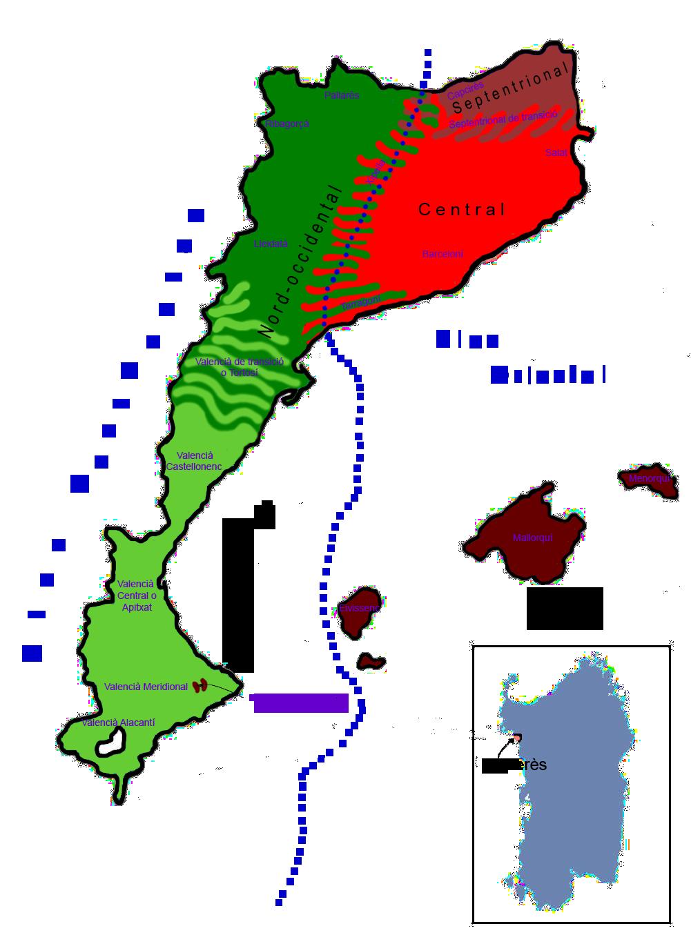 Le varieta geografiche del catalano.