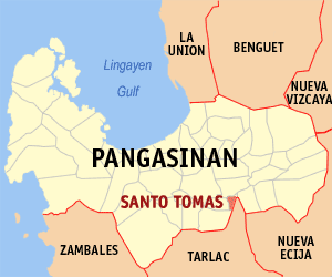Map of Pangasinan showing the location of Santo Tomas