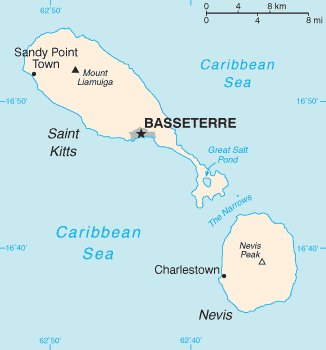 English: Map of the Saint Kitts and Nevis