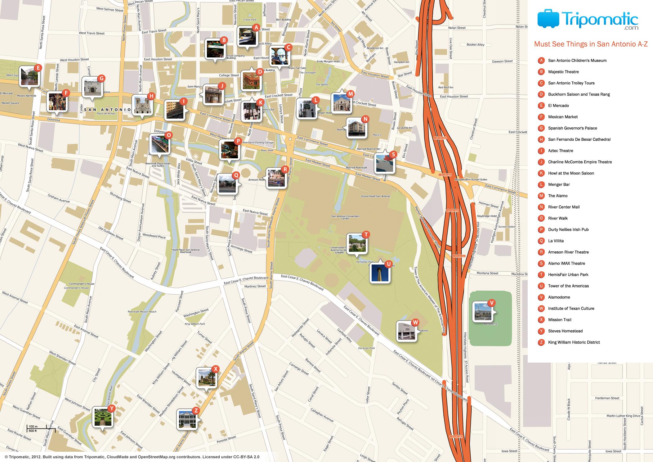San Antonio Printable Tourist Attractions Map