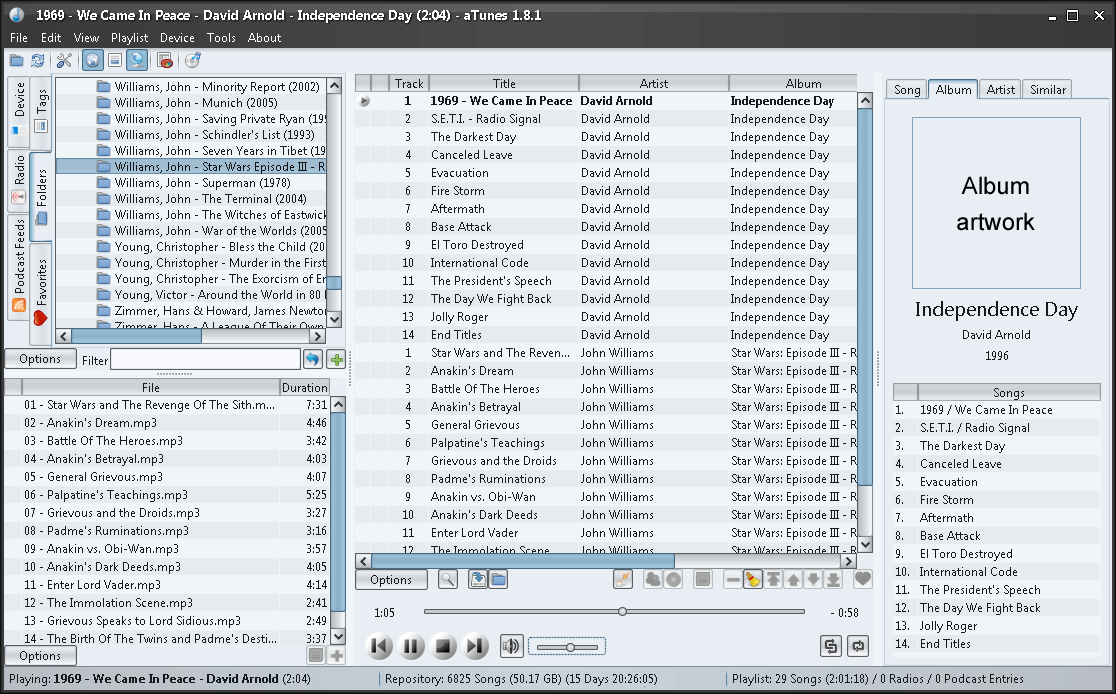 aTunes 1.8.3 screenshot