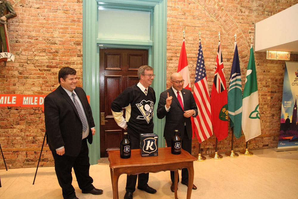 Senators-Penguins Wager (8871820216).jpg Ambassador Jacobson and Ottawa Mayor Jim Watson today cleared their wager on the Senators-Penguins series
