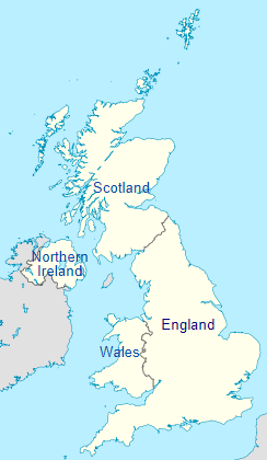 The four countries of United Kingdom