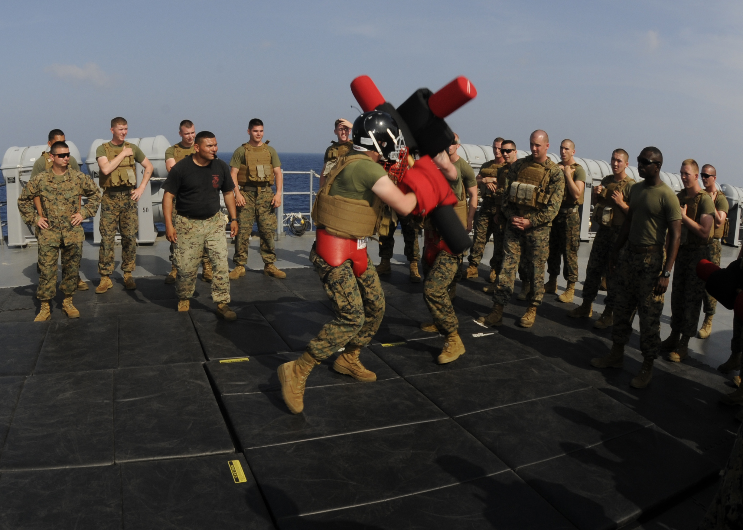 File:U.S. Marine Corps Lance Cpl. Jay Fisher, center left, and Lance Cpl. Thomas LaPointe ...