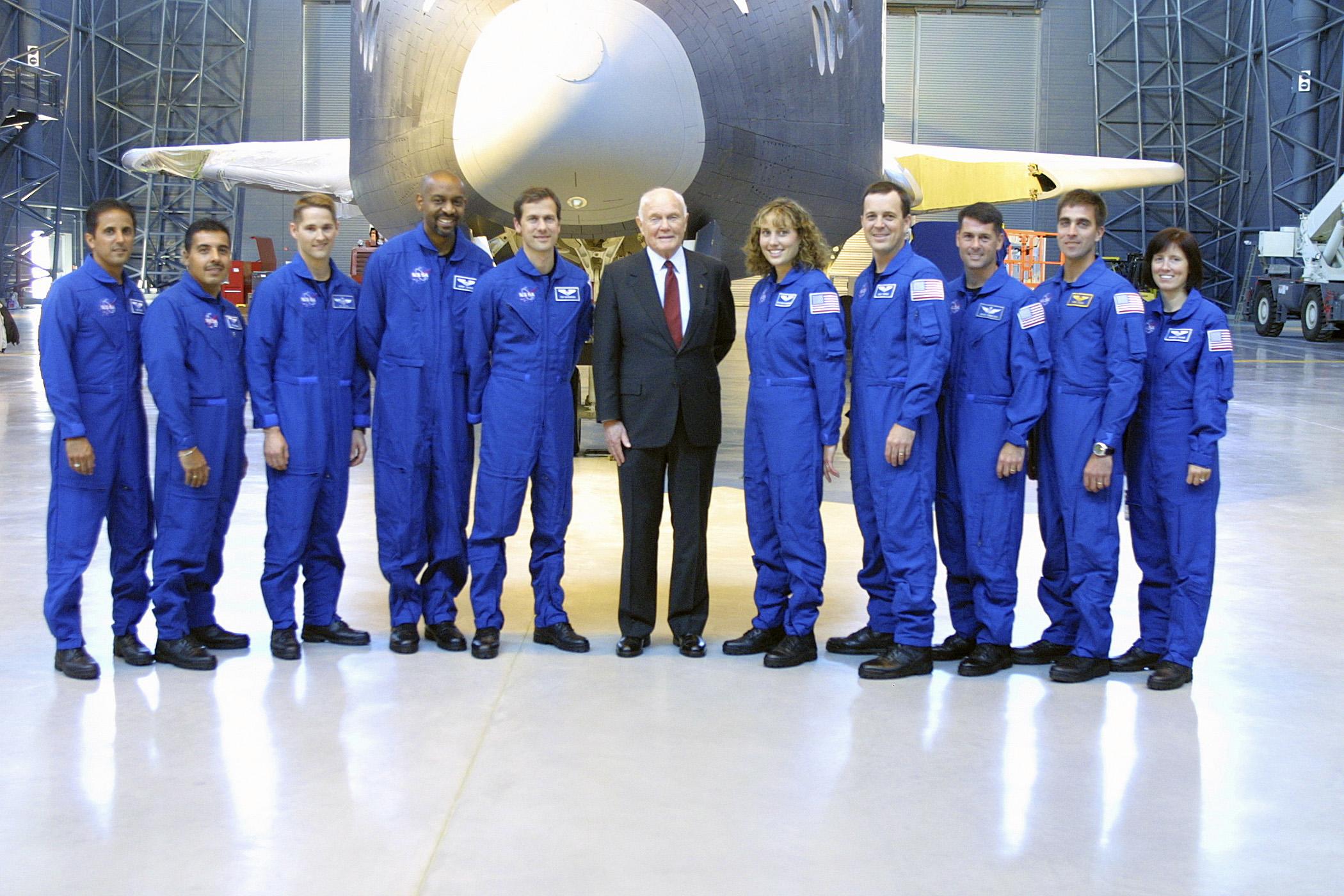 Space Shuttle Enterprise With Retired Senator Former Astronaut John