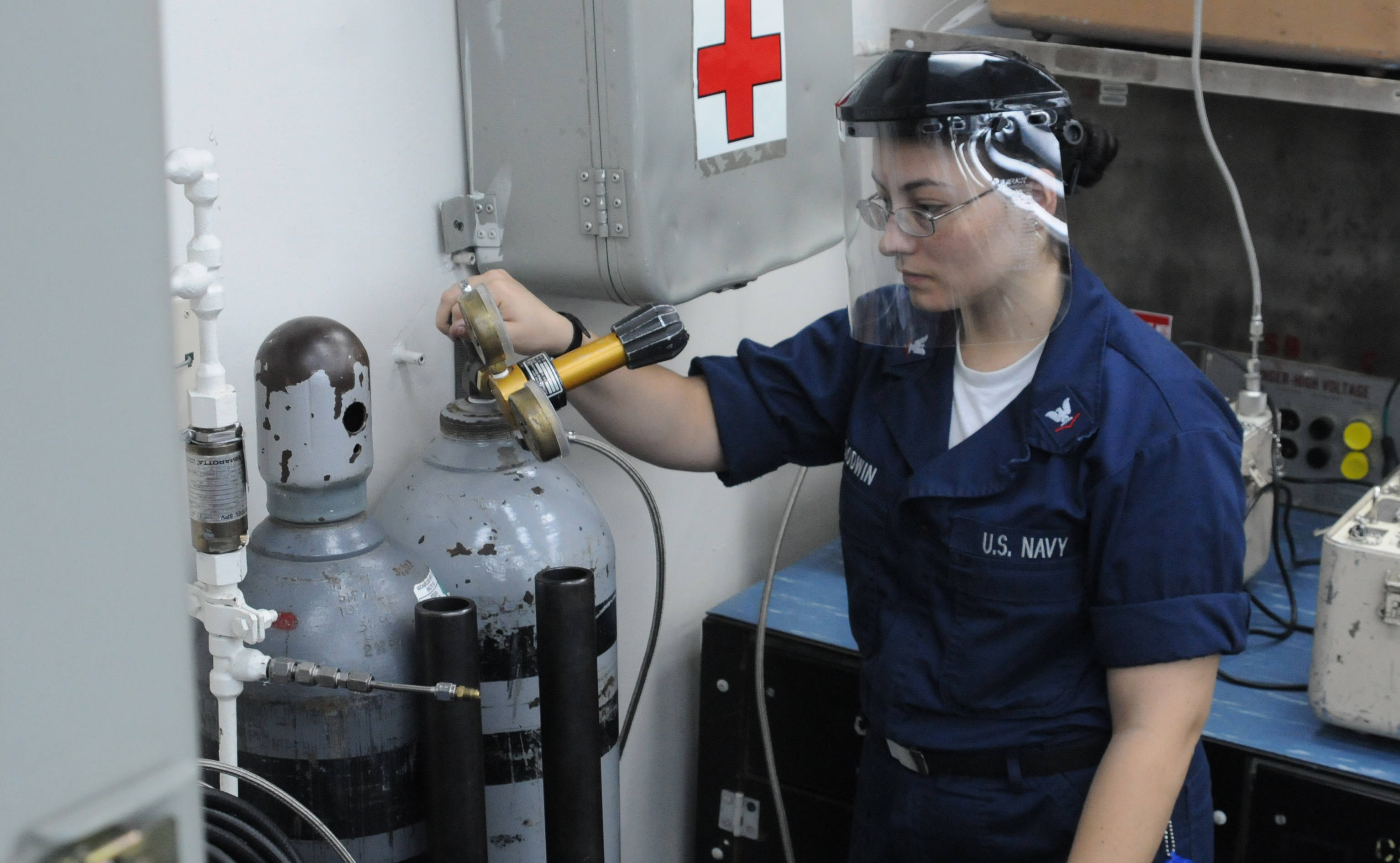 US Navy 100714-N-3852A-118 Hull Systems Technician monitors nitrogen tank.jpg