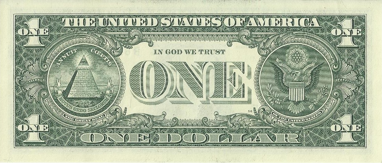 Back of US One Dollar Bill