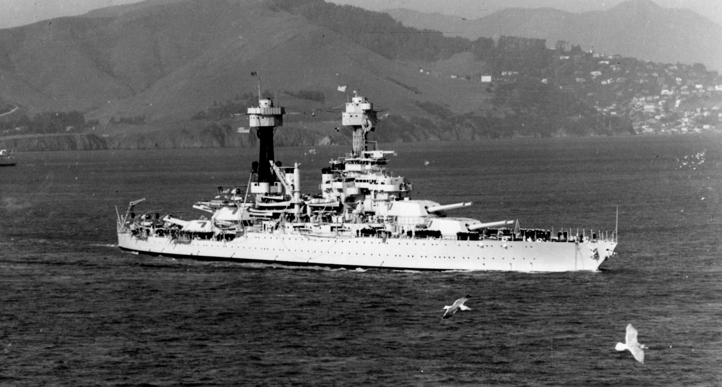 USS West Virginia (BB-48) in San Francisco Bay, c. 1934.