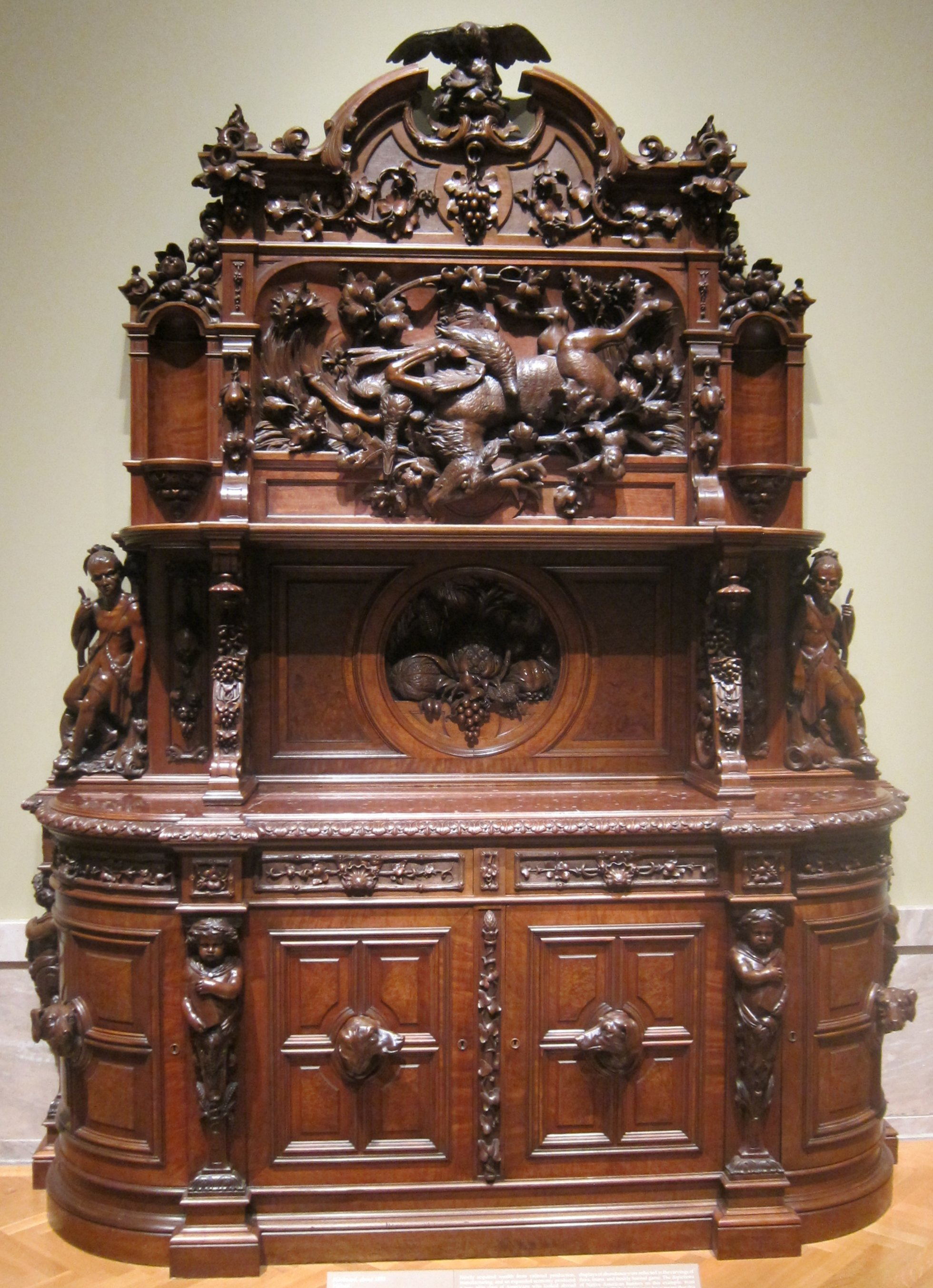 File:Walnut sideboard attributed to Joseph Alexis Bailly, c. 1855 ...