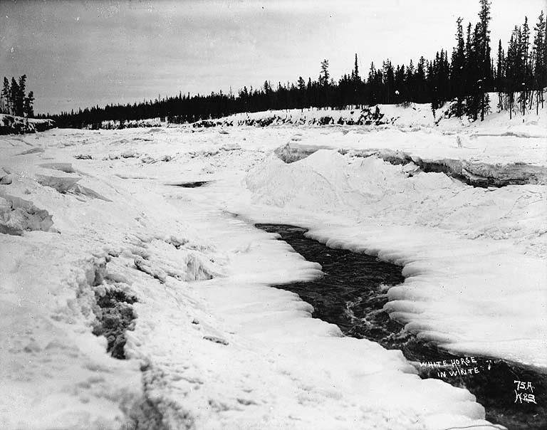 File White Horse Rapids On The Yukon River Frozen Over In