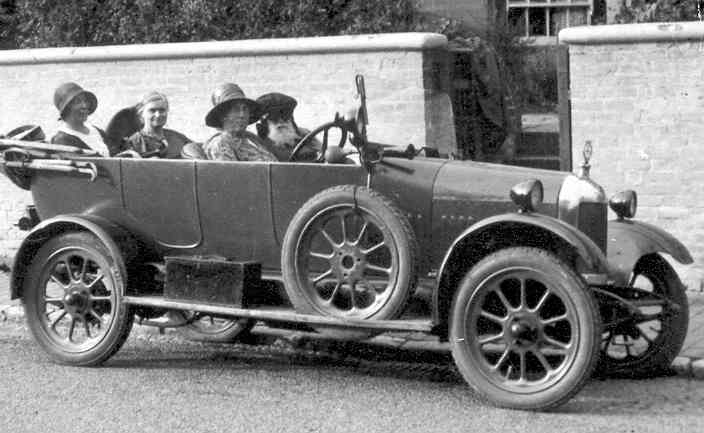 Bertha Phillpotts' Morris Cowley car Freda (here being driven by her cousin Mary Clover), c. 1930