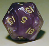 A typical twenty-sided die