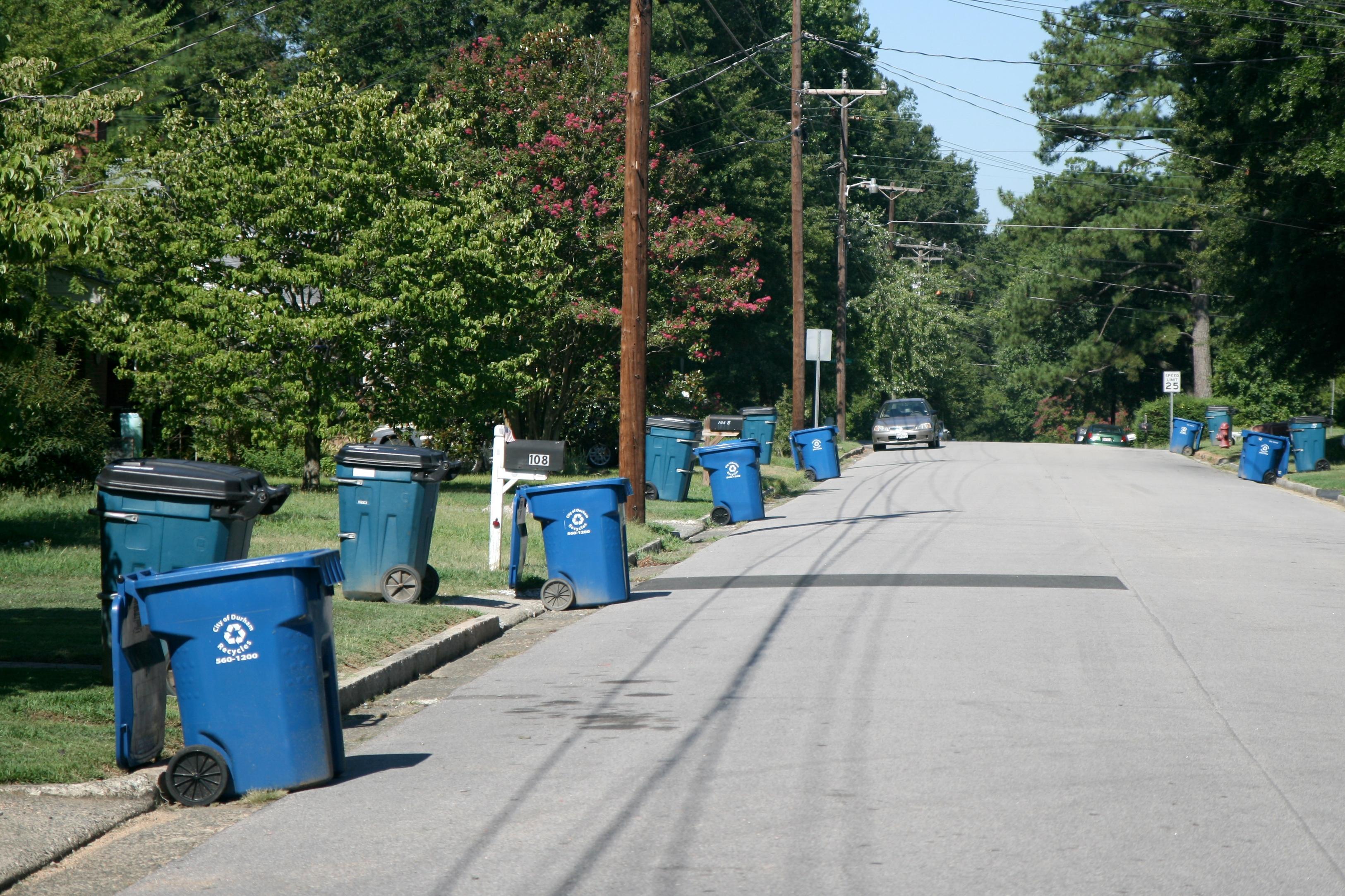 trash bins on curb along maynard ave in durham