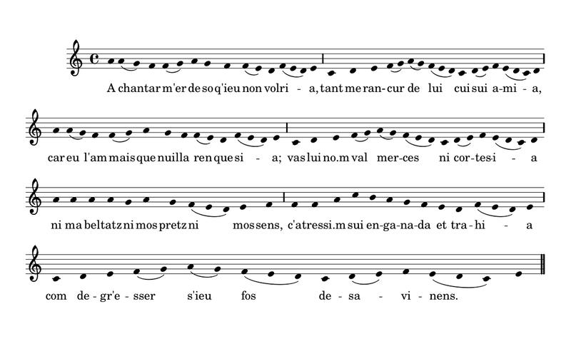 A chantar m'er en notación moderna, solo el primer verso.