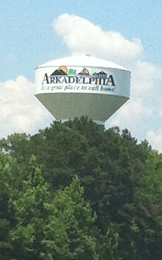 Water tower in Arkadelphia Arkadelphia water tower.png