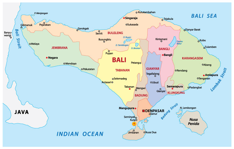 Map of bali and surrounding islands hoot holidays map of bali gumiabroncs Choice Image