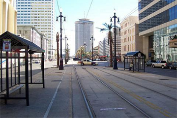 Canal Street, looking toward the river, December 2005, a veritable ghost town.