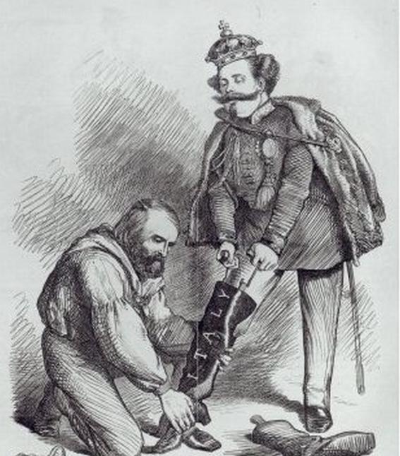 """Karikatur der britischen Satirezeitschrift """"Punch"""": Garibaldi hilft Viktor Emmanuel II. in den italienischen Stiefel"""