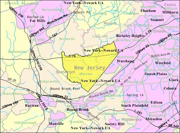 Census Bureau map of Warren Township, New Jersey
