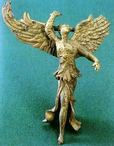 Statuette of Nike, Greek goddess of victory, from Vani, Georgia (country) Colchis-Nike.jpg
