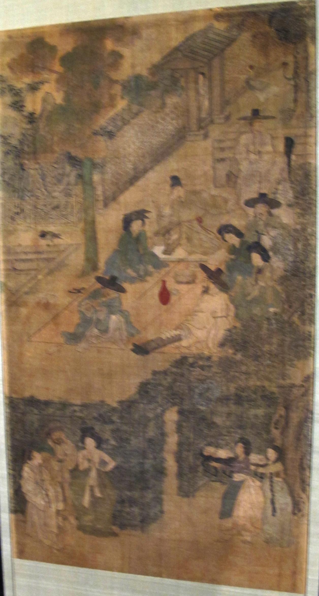 File Corea paravento con scene di genere firmato kim hong do epoca choson